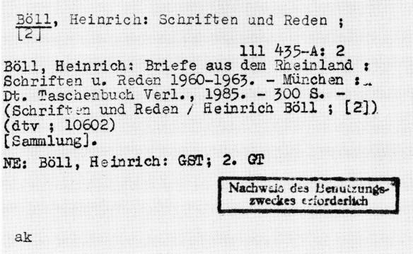 Zensurvermerk auf einer Katalogkarte der Zentralbibliothek der deutschen Klassik, Weimar (Vorläuferin der Herzogin Anna Amalia Bibliothek)